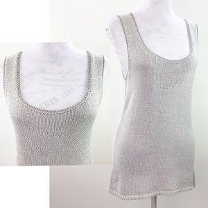 Chicos Silver Gray Sweater Tunic Tank Top Medium 8